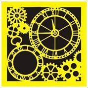 """Στένσιλ πλαστικό """"Ρολόι"""" 16x16εκ. (ST0071B)"""