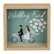Κουμπαράς - κορνίζα ξύλινος Wedding Fund Υ20x20x5εκ.