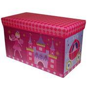 """Σκαμπώ-κουτί αποθήκευσης υφασμάτινο """"νεράιδα με κάστρο"""" Υ35x60x30εκ."""