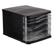 Ark συρταριέρα πλαστική μαύρη με 5 διάφανα συρτάρια Α4, Υ24x35.5x28εκ.
