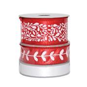 Κορδέλες χριστουγεννιάτικες σατέν κόκκινο-άσπρο σετ 3τεμ.