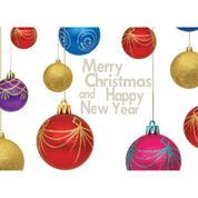 """Ευχετήριες κάρτες χριστουγεννιάτικες """"χριστουγεννιάτικες μπάλες"""" 16x11,6εκ."""