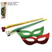Σετ με 2 φρου φρου και 2 μάσκες κόκκινο & πράσινο σε blister