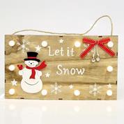 """Χριστουγεννιάτικη ξύλινη επιγραφή φωτεινή """"let it snow"""" Υ18x30εκ."""