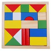 Τουβλάκια ξύλινα χρωματιστά 23τεμ.14,5x14.5x1.7εκ.