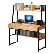 Γραφείο Υ74/138x100x48εκ. φυσικό χρώμα και μεταλλικό μαύρο σκελετό