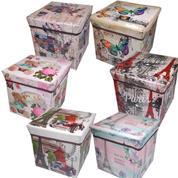 """Σκαμπώ-κουτί αποθήκευσης """"vintage"""" Υ30x30x30εκ. κοκτέηλ 6 σχέδια"""