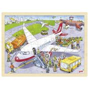 "Goki παζλ ξύλινο ""Αεροδρόμιο"" 30x40εκ. 96 τεμαχίων"