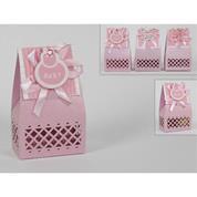Κουτάκι χάρτινο ροζ για μπομπονιέρα βάπτισης 13x6.5εκ.