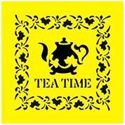 """Στένσιλ πλαστικό """"Tea time"""" 16x16εκ.  (ST0065)"""