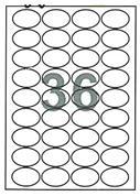Fleks ετικέτ. αυτοκόλ. λευκές Ø45x30mm 36/φ 100φ Α4