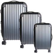 Σετ 3 βαλίτσες ταξιδίου abs γκρι Υ77x48x32εκ. & Υ67x43x27εκ. & Υ57x36x24εκ.