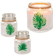 Διακοσμητικό κερί σε γυάλινο βάζο διάφορα σχέδια Υ10εκ.-Ø8εκ.