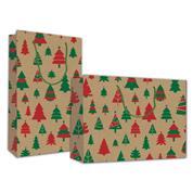 "Next χάρτ. τσάντα κραφτ Υ26x36x12εκ. ""Χριστουγεννιάτικα Δέντρα"""