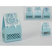 Κουτάκι χάρτινο μπλε για μπομπονιέρα βάπτισης 13x6.5εκ.