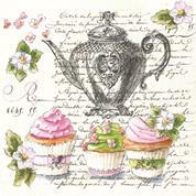 """Χαρτοπετσέτες 20τεμ. 33x33εκ """"cup cakes-tea"""" (SLOG41201)"""