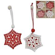 """Χριστουγεννιάτικα στολίδια """"νιφάδες"""" ξύλινα Υ5,5x5εκ."""