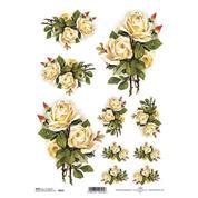 """Ριζόχαρτο """"white roses"""" 21x29εκ.   (ITD-R225)"""