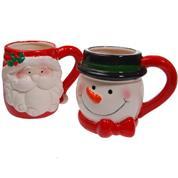 Χριστουγεννιάτικες κεραμικές κούπες, κοκτέηλ 2 σχέδια, Υ15x10.5x11εκ.
