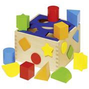 Goki κύβος ταξινόμησης σχημάτων ξύλινος 16x10εκ. 10 τεμαχία.