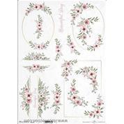 """Ριζόχαρτο """"Watercolors flowers 1"""" 42x29.7εκ.   (ITD-R0315L)"""