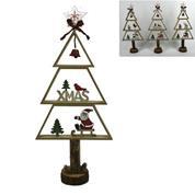 Χριστουγεννιάτικο ξύλινο δέντρο διακοσμητικό σε 3 σχέδια Υ50x22x7εκ.