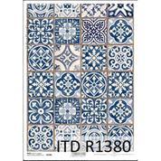 """Ριζόχαρτο """"Vintage-blue tiles"""" 21x29εκ.   (ITD-R1380)"""