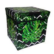 Σκαμπώ-κουτί αποθήκευσης φύλλο μονστέρα Υ30x30x30εκ.