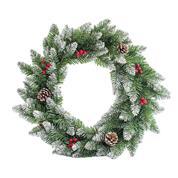 Χριστουγεννιάτικο στεφάνι χιονισμένο με κουκουνάρες Ø50εκ.
