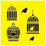 """Στένσιλ πλαστικό """"Κλουβί με πουλιά"""" 16x16εκ. (ST0075A)"""