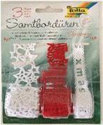 Δαντέλα βελούδινη λευκή/κόκκινη 3 διαφ.σχέδια, 1 μέτρο/ρολλό  σε blister