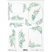 """Ριζόχαρτο """"Watercolors flowers 4"""" 21x29εκ.   (ITD-R1457)"""