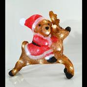 Χριστουγεννιάτικο αρκουδάκι με τάρανδο 40led λευκά 36x13x36εκ.  IP44