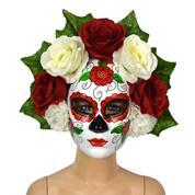 Μάσκα για την ημέρα των νεκρών με κόκκινα-λευκά λουλούδια