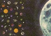 """Rainbow χαρτόνι """"πλανήτες-σελήνη"""" 300γρ. 50x70εκ."""