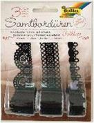Δαντέλα βελούδινη μαύρη 3 διαφ.σχέδια, 1 μέτρο/ρολλό  σε blister