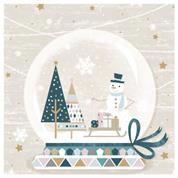 """Χαρτοπετσέτες 20τεμ. 33x33εκ """"Χιονάνθρωπος, έλκηθρο και έλατα"""" (SDGW 018101)"""