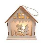 """Χριστουγεννιάτικο διακοσμητικό """"σπιτάκι-χιονάνθρωπος"""" ξύλινο Υ10x7εκ."""