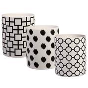 Βάση για κερί κεραμική άσπρη-μαύρη κοκτέηλ 3 σχέδια Υ10εκ. &  Ø8εκ.