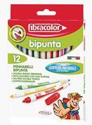 Fibracolor μαρκαδόρος με χοντρή & λεπτή μύτη 12χρώμ.