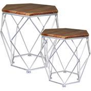 Σετ 2 τραπεζάκια ξύλινα με μεταλλικά πόδια (Υ50x52.5εκ. & Υ42,5x42.5εκ.)