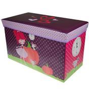 """Σκαμπώ-κουτί αποθήκευσης υφασμάτινο """"κορίτσι με ζωάκια"""" Υ35x60x30εκ."""
