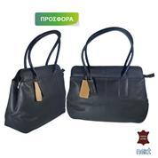 Δερμάτινη τσάντα γυναικεία 34x29x11εκ. μαύρη