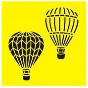 """Στένσιλ πλαστικό """"Αερόστατα"""" 16x16εκ.  (ST0151B)"""