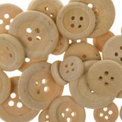 Διακοσμητικά κουμπιά μπεζ ξύλινα 30τεμ, Ø 22mm,Ø 18mm,Ø 7mm