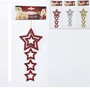 Χριστουγεννιάτικα στολίδια αστέρια με glitter  23εκ. σε δυο χρώματα