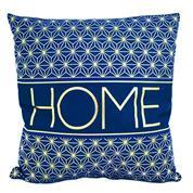 """Μαξιλάρι διακοσμητικό βελουτέ """"Home"""" μπλε-ασημί 40x40εκ."""