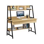 Γραφείο υπολογιστή Υ73/137x120x48εκ. mdf sonoma και μεταλλικό μαύρο σκελετό